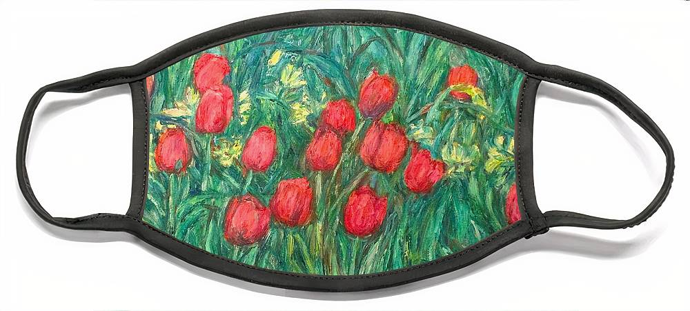 Kendall Kessler Face Mask featuring the painting Mostly Tulips by Kendall Kessler