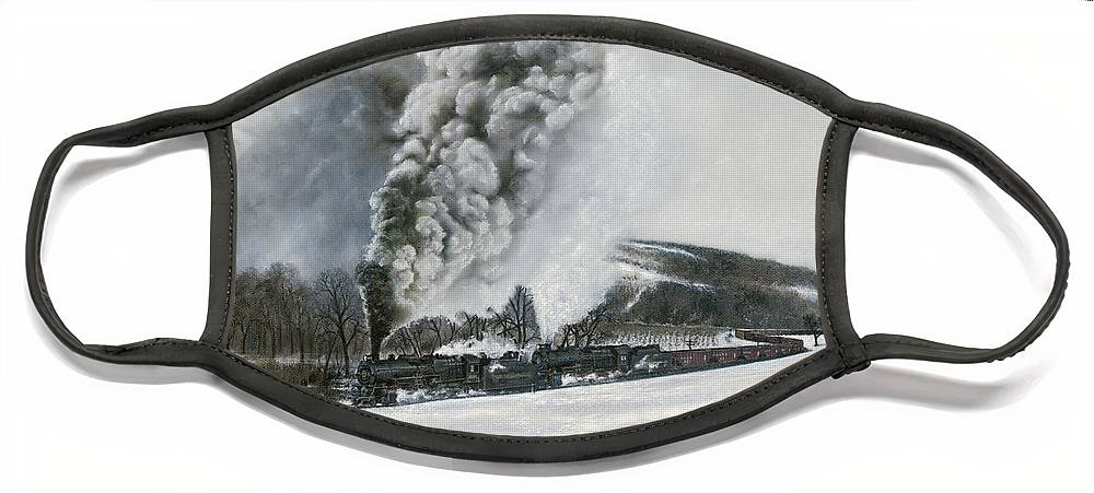 Trains Face Mask featuring the painting Mount Carmel Eruption by David Mittner