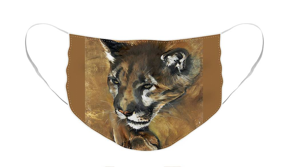Southwest Art Face Mask featuring the painting Mountain Lion - Guardian of the North by J W Baker