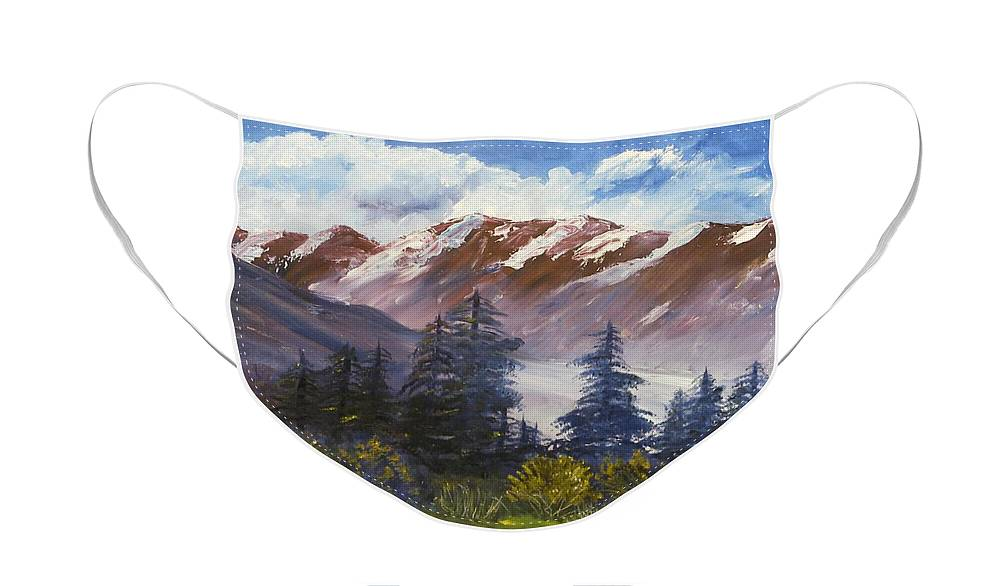 Oil Painting Face Mask featuring the painting Mountains I by Lessandra Grimley