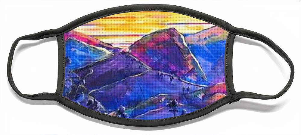 Mountains Face Mask featuring the painting Mountainscape Blue by Rollin Kocsis