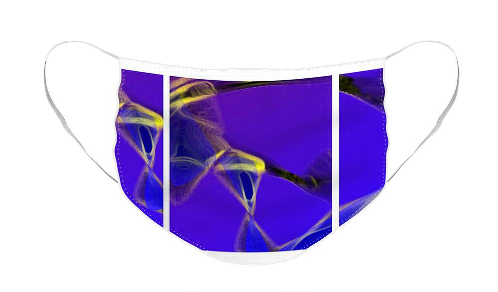 Abstract Face Mask featuring the digital art Movement In Blue by Steve Karol