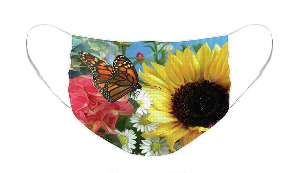 Sunflower Face Mask featuring the painting Multicolor with Monarch by Lucie Bilodeau