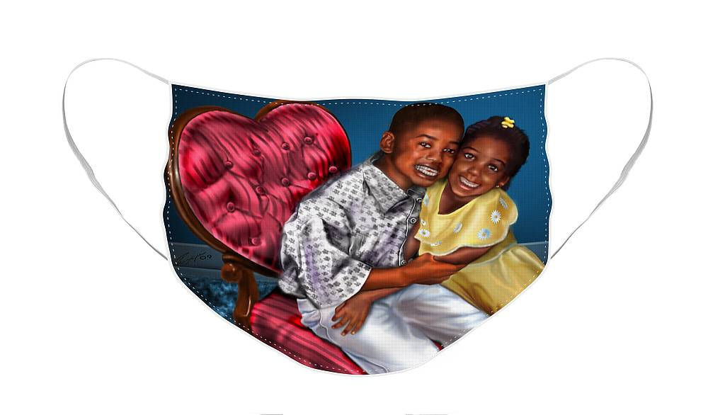 Boy And Girl Face Mask featuring the painting My Big Brother-My Little Sister1 by Reggie Duffie