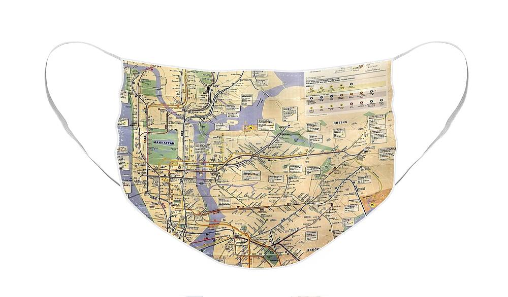 New York City Face Mask featuring the photograph N Y C Subway Map by Rob Hans