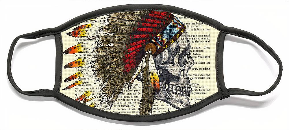 Native American Face Mask featuring the digital art Native American Skull by Madame Memento