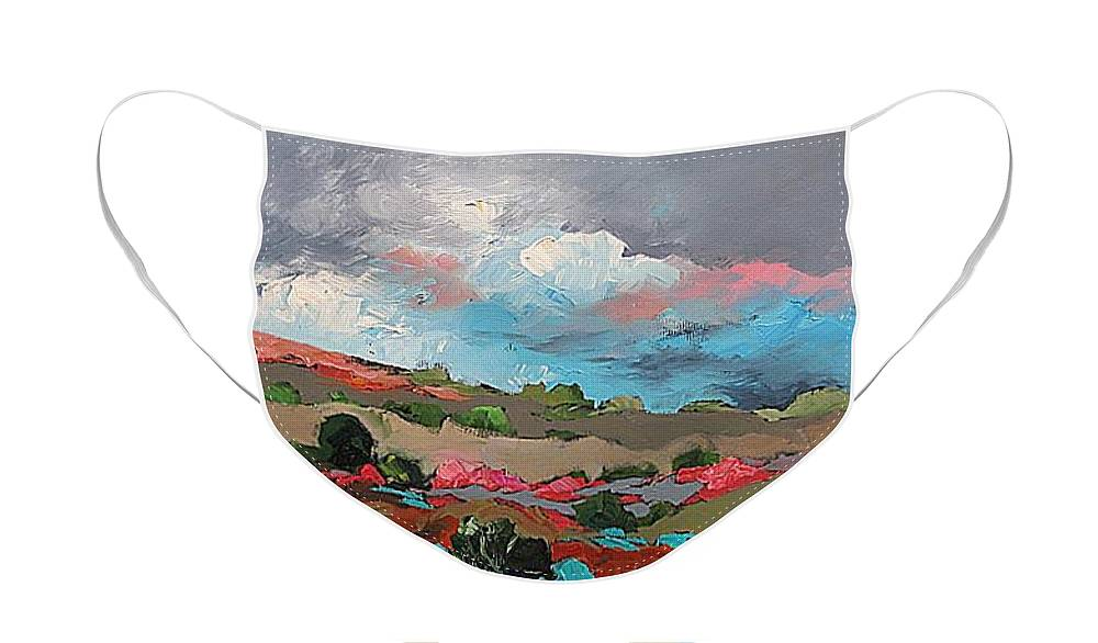 Original Face Mask featuring the painting Nature by Linda Monfort