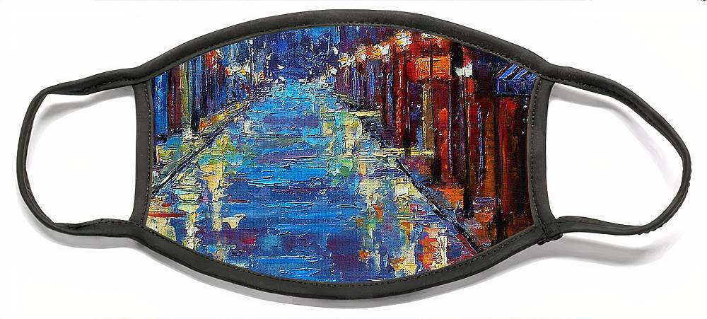 Cityscape Face Mask featuring the painting New Orleans Bourbon Street by Debra Hurd