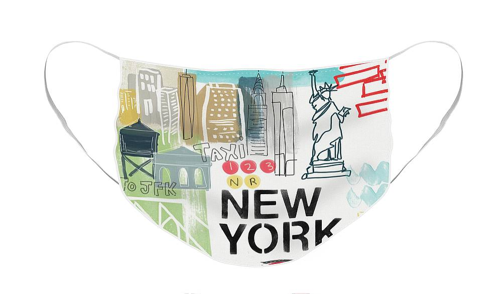 New York Face Mask featuring the painting New York Cityscape- Art by Linda Woods by Linda Woods