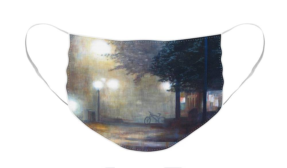 Fog Face Mask featuring the painting Night Fog by Victoria Heryet