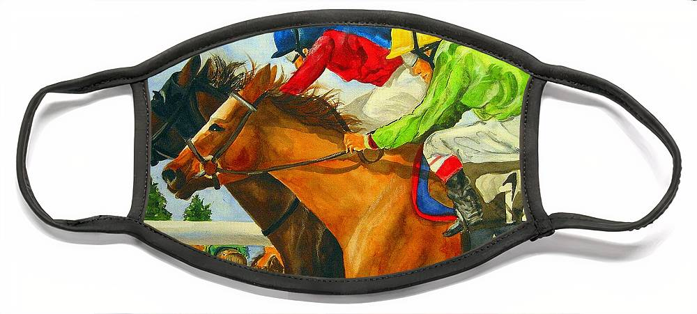 Horse Face Mask featuring the painting Nose to Nose by Jean Blackmer