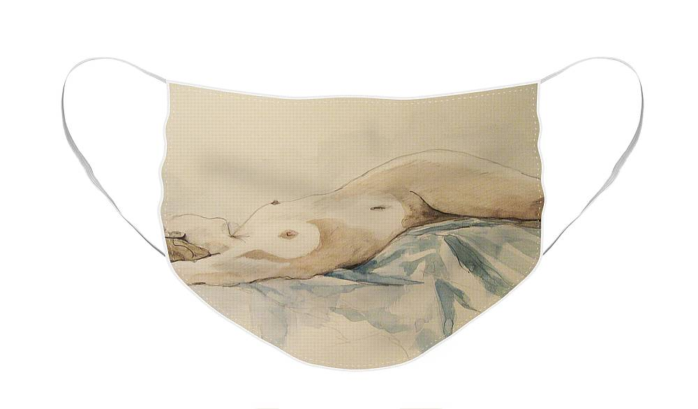 Nude Face Mask featuring the painting Nude 9 by Victoria Heryet