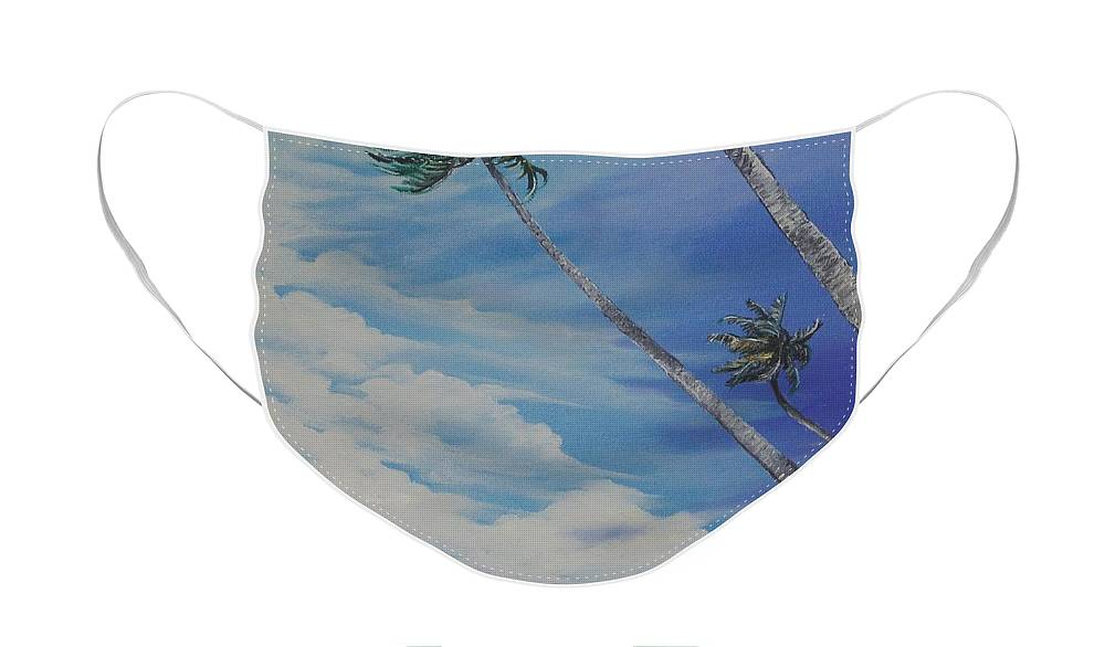 Trinidad And Tobago Seascape Face Mask featuring the painting Nylon Pool Tobago. by Karin Dawn Kelshall- Best
