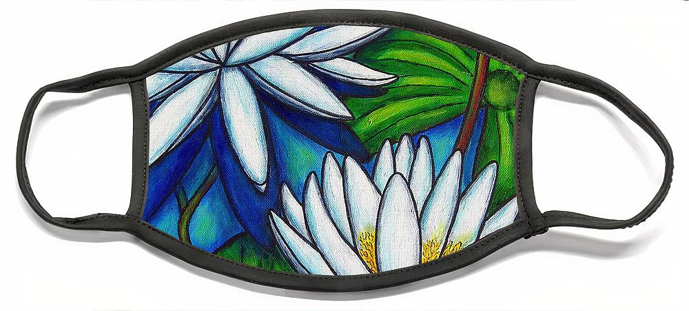 Lily Face Mask featuring the painting Nymphaea Blue by Lisa Lorenz