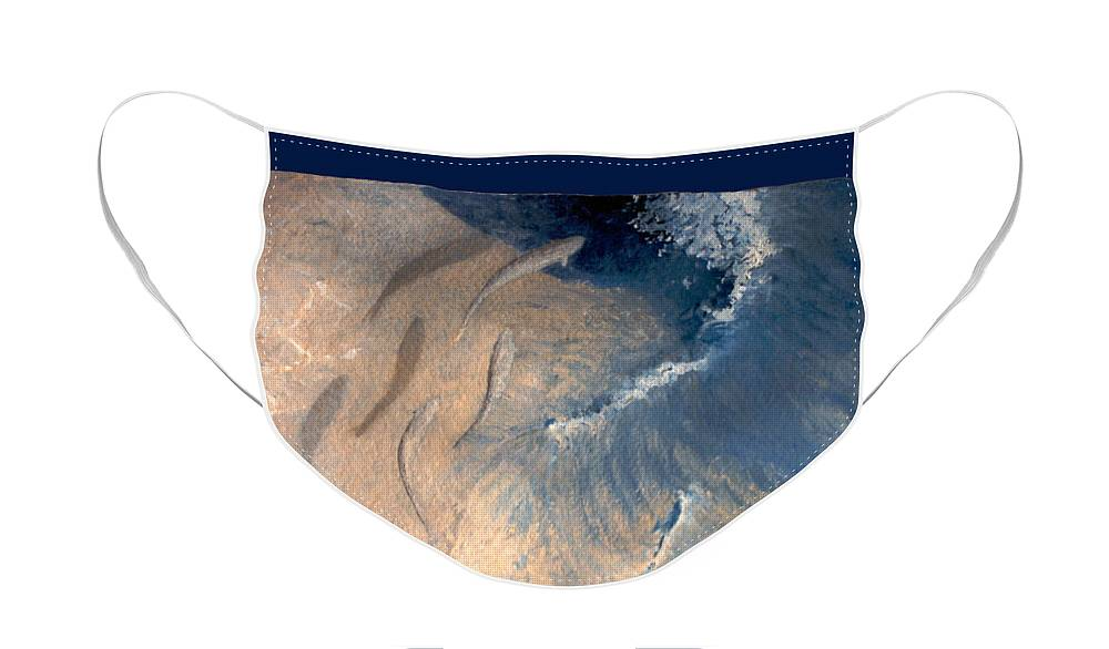 Seascape Face Mask featuring the painting Ocean by Steve Karol