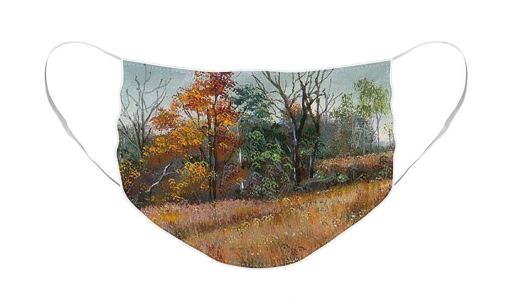 Landscape Face Mask featuring the painting Oklahoma Autumn by Peggy Conyers