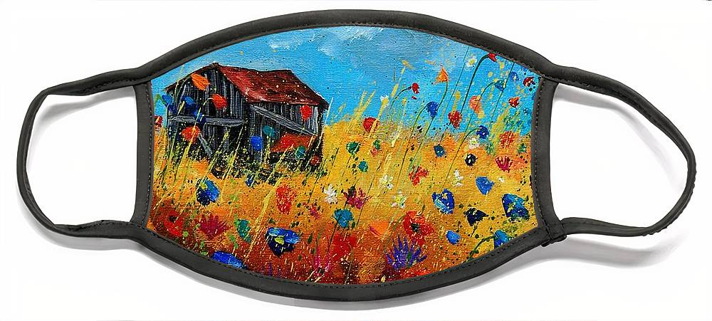 Poppies Face Mask featuring the painting Old barn by Pol Ledent