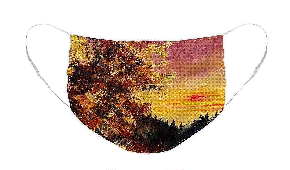 Landscape Face Mask featuring the painting Old oak at sunset by Pol Ledent