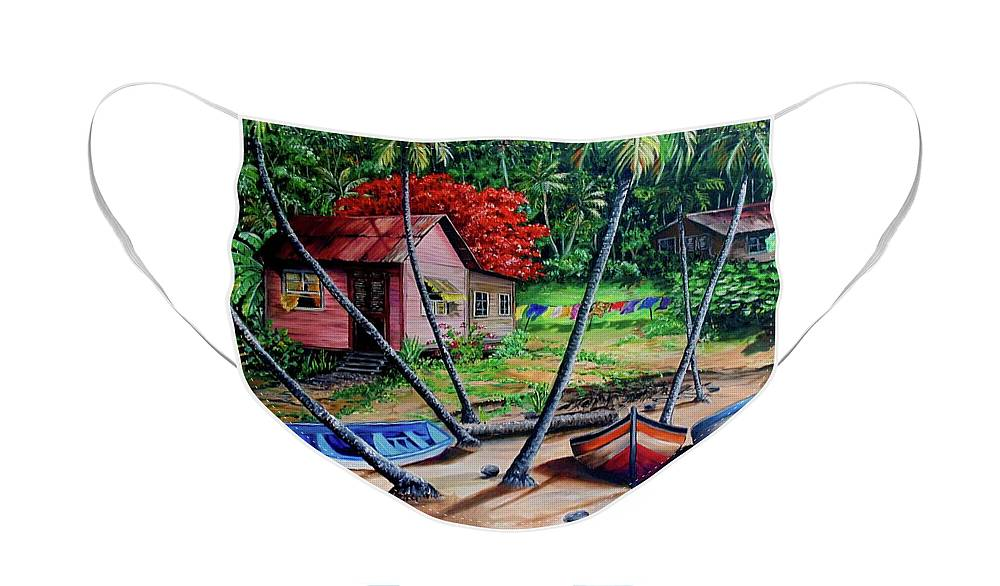 Tropical Face Mask featuring the painting Old Palatuvia Tobago by Karin Dawn Kelshall- Best