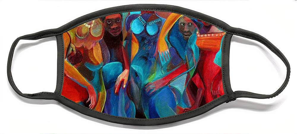 Figures Face Mask featuring the painting Old Rhythms New Beats by Joyce Owens