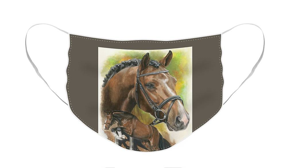 Hunter Jumper Face Mask featuring the mixed media Oldenberg by Barbara Keith