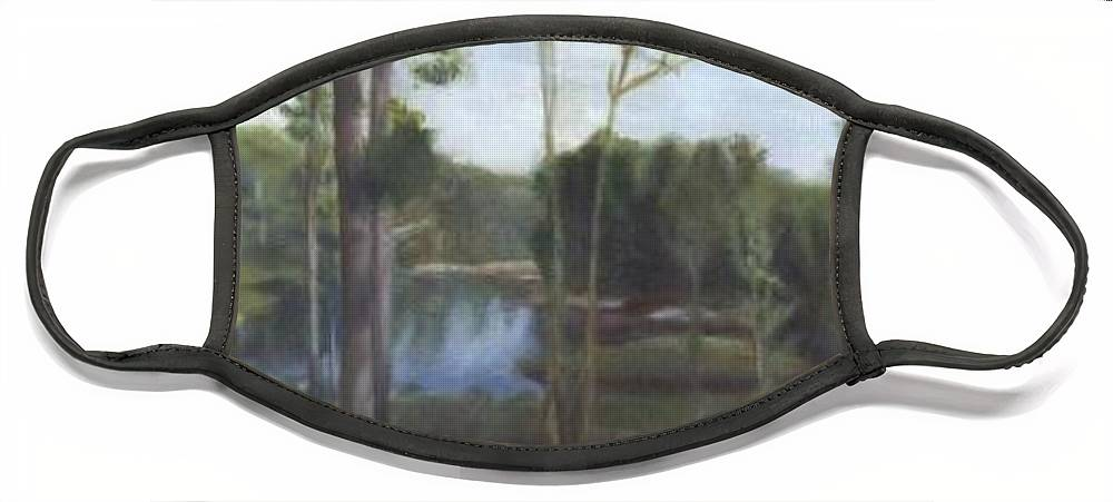 Landscape Face Mask featuring the painting Once by Sheila Mashaw