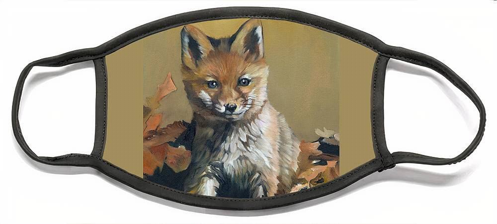 Fox Face Mask featuring the painting Once upon a time by J W Baker