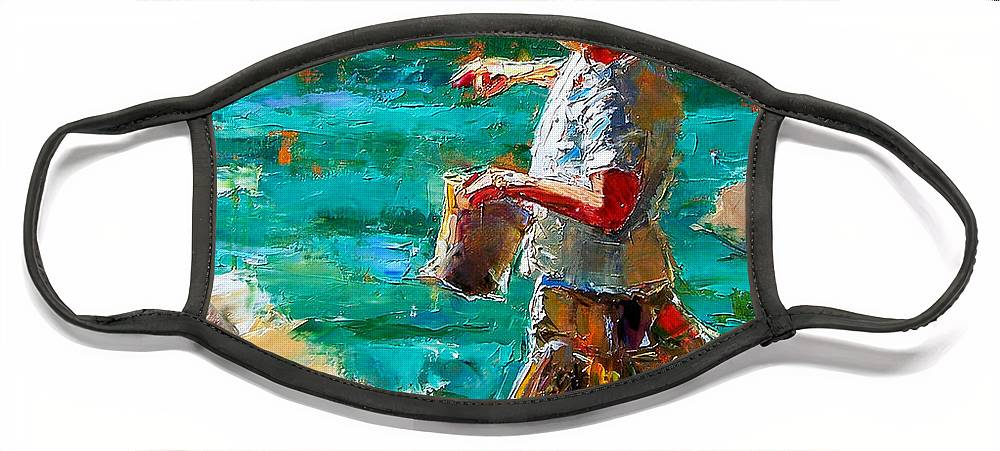Children Face Mask featuring the painting One At A Time by Debra Hurd