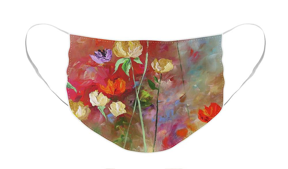 Original Face Mask featuring the painting One Violet Rose by Linda Monfort