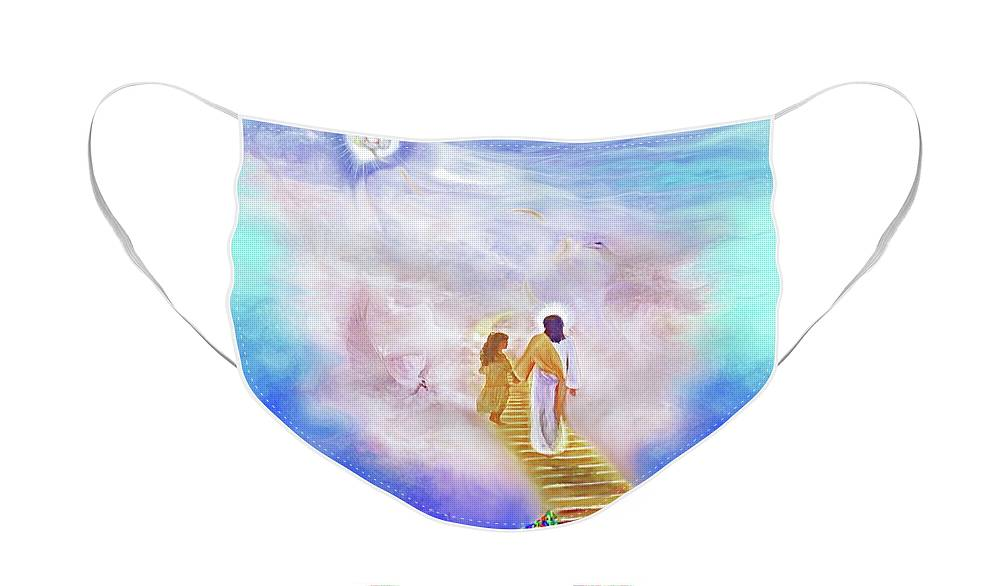 Christian Painting Face Mask featuring the painting One Way To God by Susanna Katherine