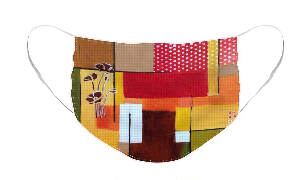 Abstract Face Mask featuring the painting Orange green, abstract by Patricia Cleasby