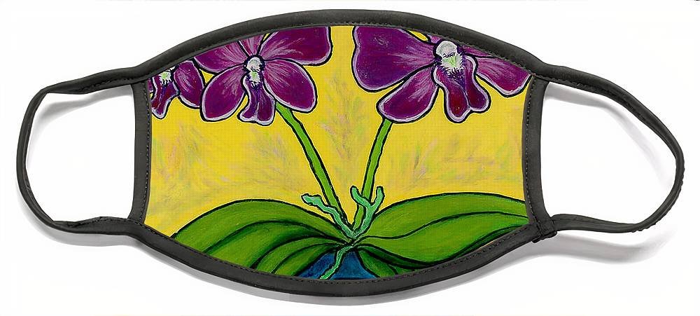 Orchids Face Mask featuring the painting Orchid Delight by Lisa Lorenz