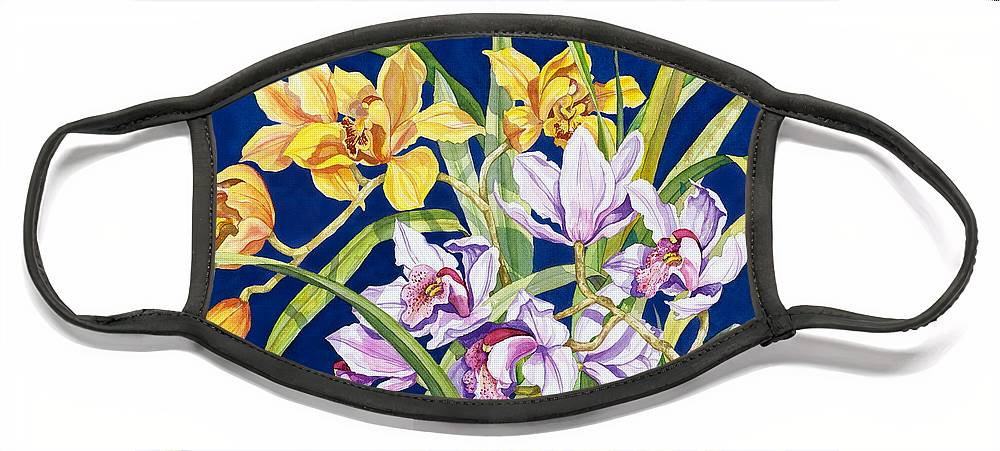 Orchids Face Mask featuring the painting Orchids In Blue by Lucy Arnold