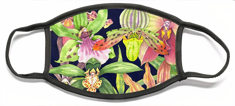 Orchids Face Mask featuring the painting Orchids by Lucy Arnold