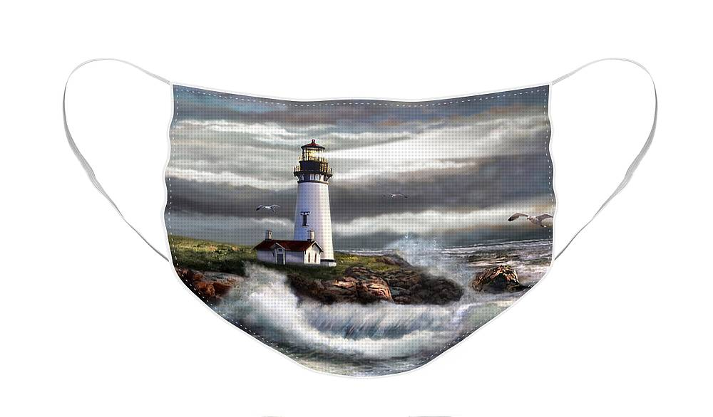 Seascape Art Face Mask featuring the painting Oregon Lighthouse Beam of hope by Regina Femrite