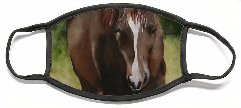 Horse Face Mask featuring the painting Oscar and Friend by Jean Blackmer