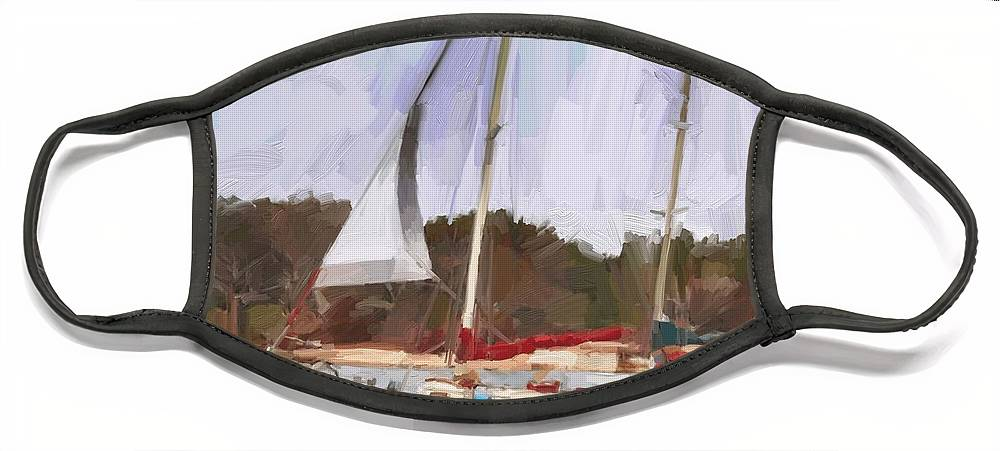 Florida Sailboat Art Face Mask featuring the digital art Outbound by Scott Waters