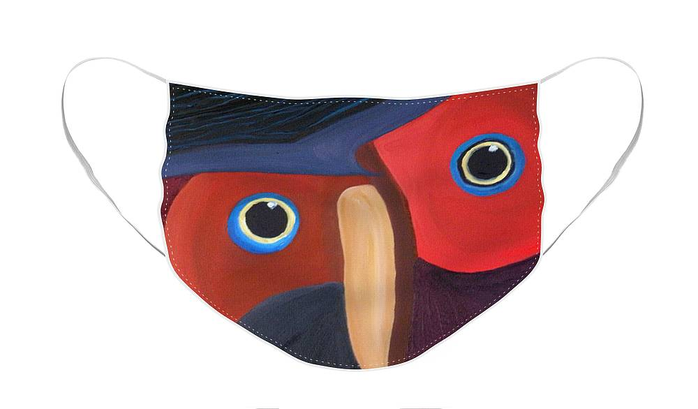 Owl Face Mask featuring the painting Owl - SOLD by Paul Anderson