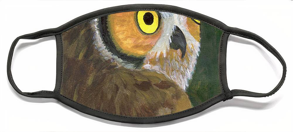 Owl Face Mask featuring the painting Owl 2009 by Lilibeth Andre