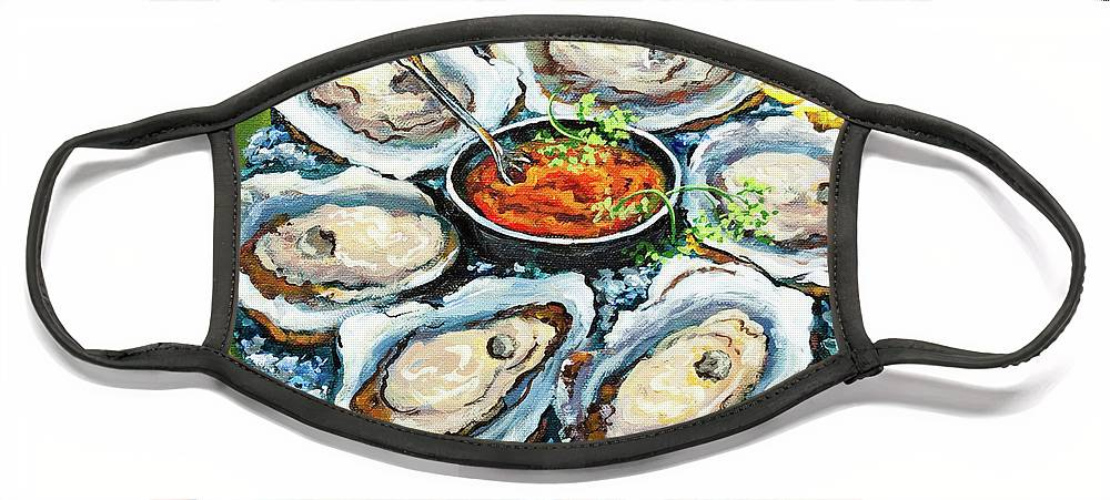 Oysters Face Mask featuring the painting Oysters on the Half Shell by Dianne Parks