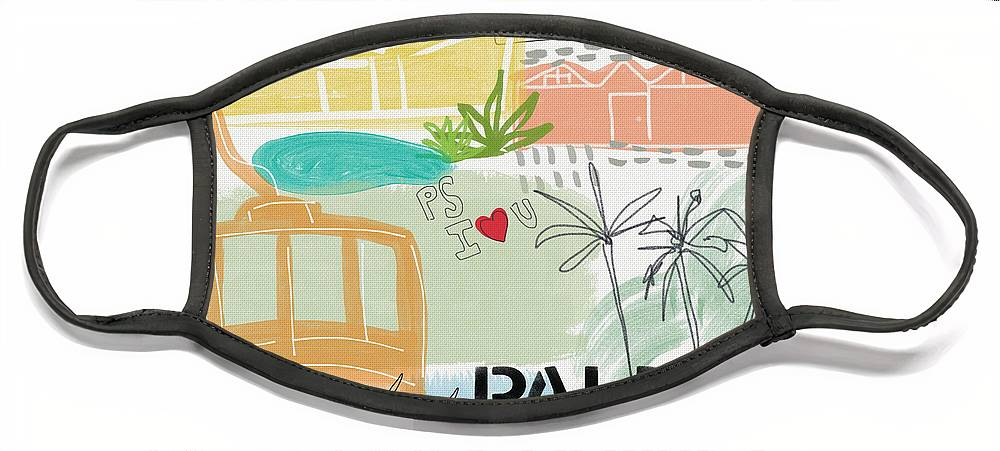 Palm Springs California Face Mask featuring the painting Palm Springs Cityscape- Art by Linda Woods by Linda Woods
