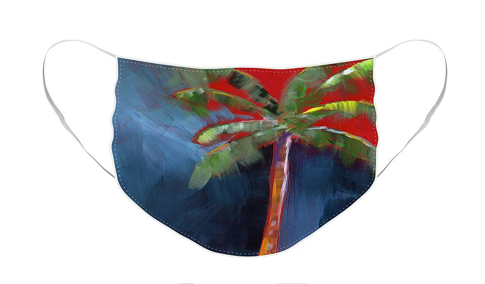 Palm Tree Face Mask featuring the painting Palm Tree- Art by Linda Woods by Linda Woods