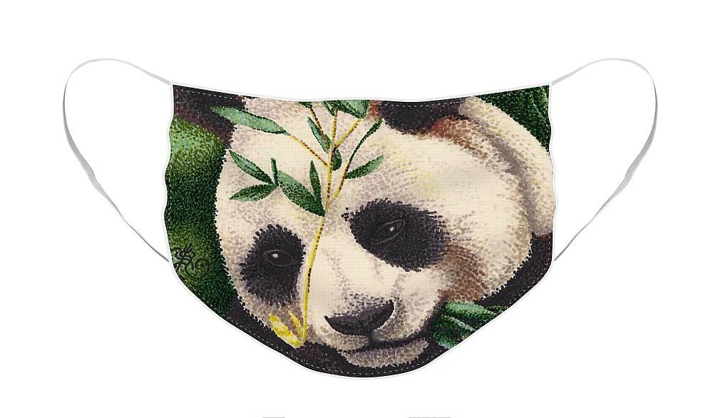 Panda Bear Face Mask featuring the drawing Panda Bear by Scarlett Royal