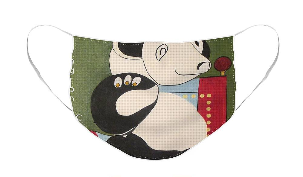 Panda Face Mask featuring the painting Panda Picasso by Patricia Cleasby