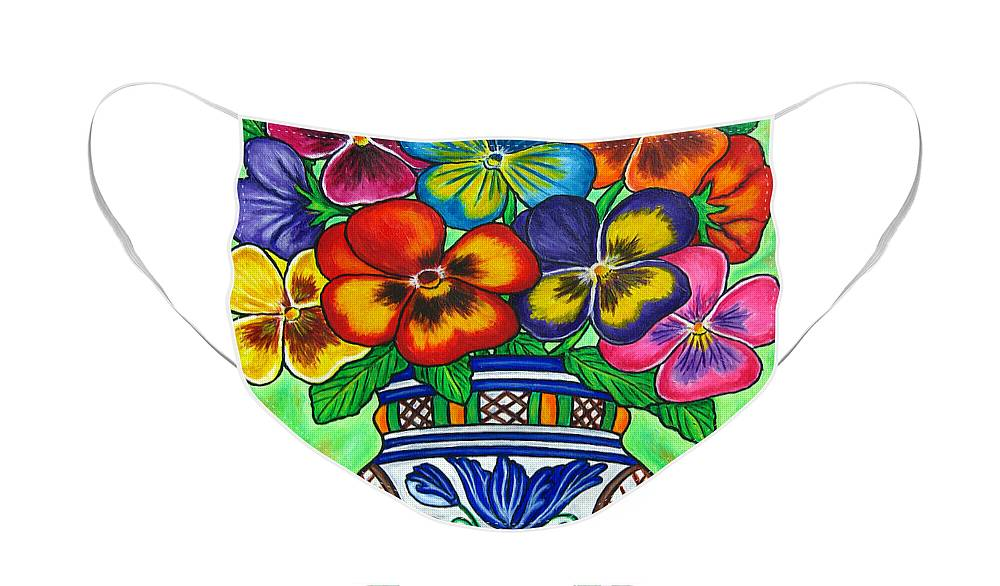 Flower Face Mask featuring the painting Pansy Parade by Lisa Lorenz
