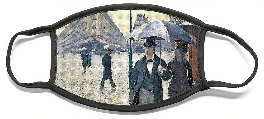 Sketch Face Mask featuring the painting Paris a Rainy Day by Gustave Caillebotte