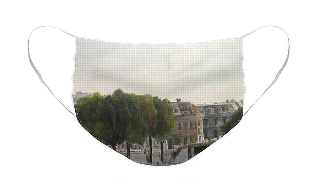 Paris Face Mask featuring the painting Paris Across the Seine by Victoria Heryet