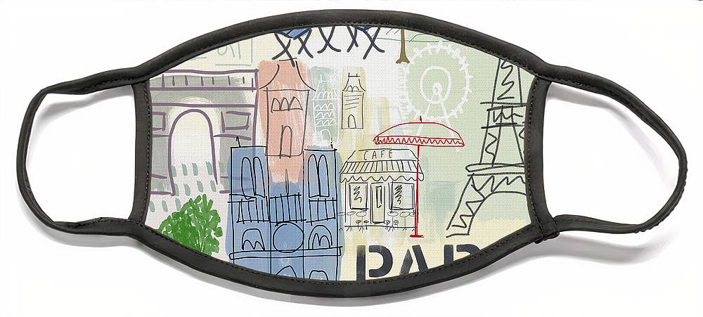 Paris Face Mask featuring the painting Paris Cityscape- Art by Linda Woods by Linda Woods