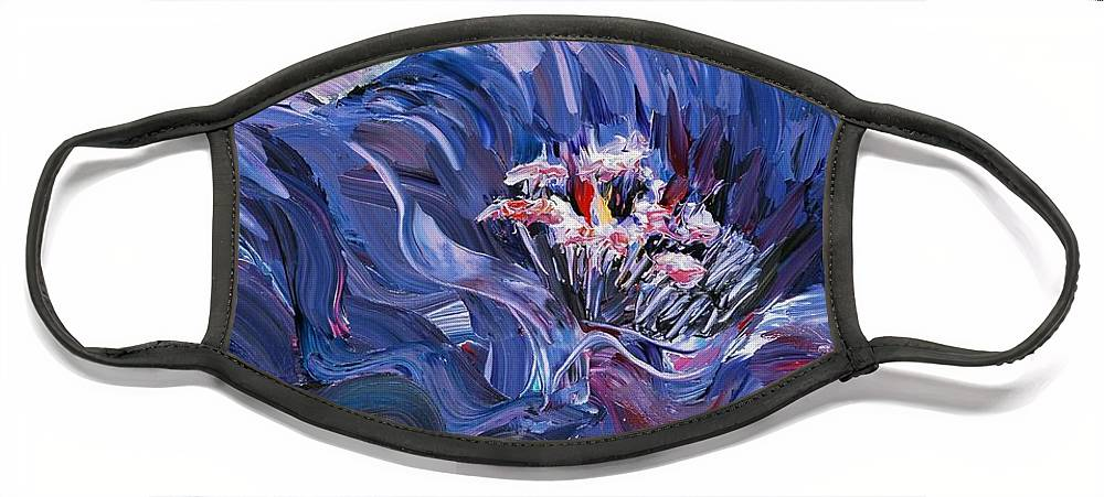 Blue Face Mask featuring the painting Passion in Blue by Nadine Rippelmeyer