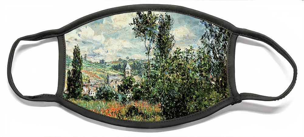 Path Face Mask featuring the painting Path through the Poppies by Claude Monet